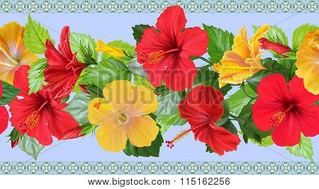 Horizontal Floral Border Red, Yellow Rose, Hibiscus, Green Leaves, Pattern, Seamless