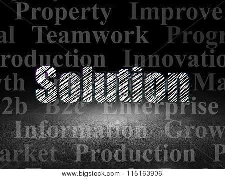 Finance concept: Solution in grunge dark room