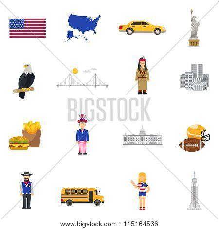 Culture Symbols  USA Flat Icons Set