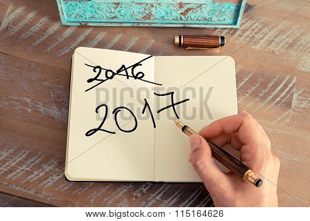 Handwritten Text Happy New Year 2017