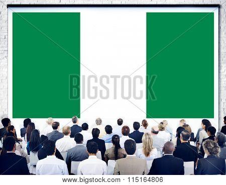 Nigeria National Flag Seminar Business People Concept
