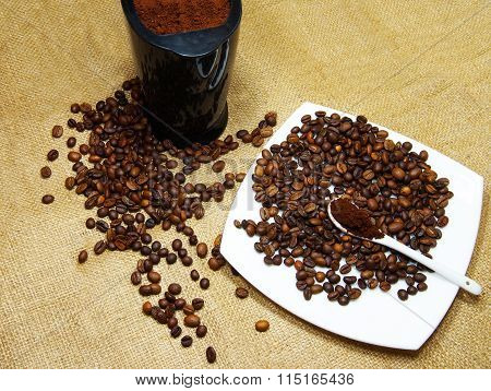 Flavored Coffee Beans And Coffee Grinder