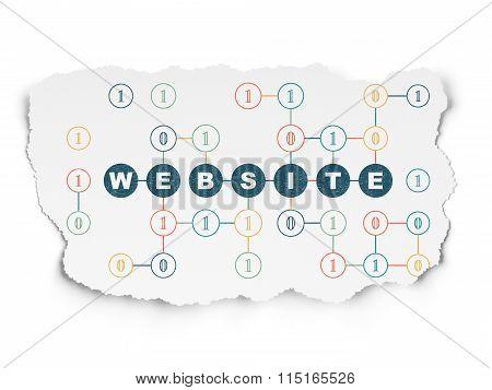 Web development concept: Website on Torn Paper background
