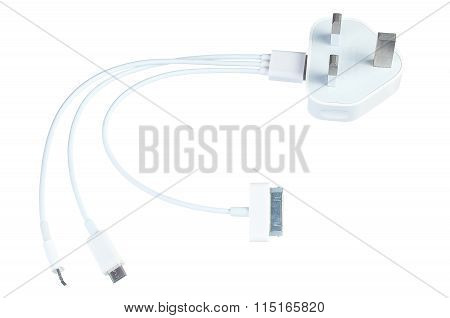 Three Way Usb Phone Charging Cable With Electricity Plug Isolated On White