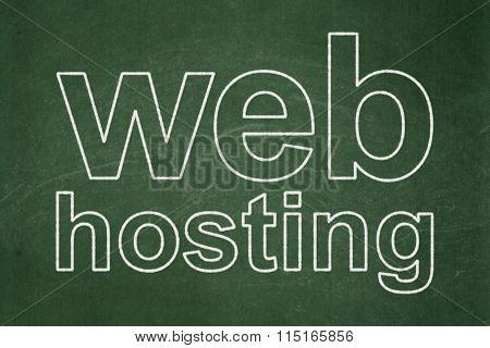 Web development concept: Web Hosting on chalkboard background