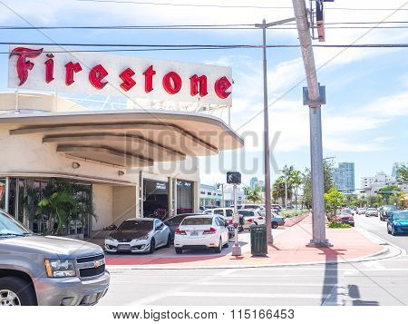 MIAMI BEACH USA - SEPTEMBER 8 2015. Typical gas station seen in Alton Road Miami Beach Florida.
