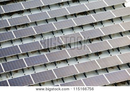 Blue solar panels on roof top