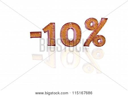 Inscription Minus 10 Percent With A Set Of Signs Of Percent In It