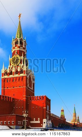 Spasskaya Tower Kremlin Moscow winter sunset