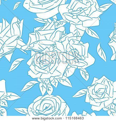 Rose Blooms Seamless Pattern