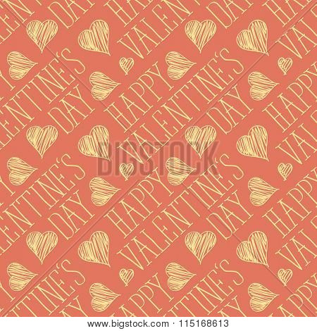 seamless vector card with heart and happy valentines day words