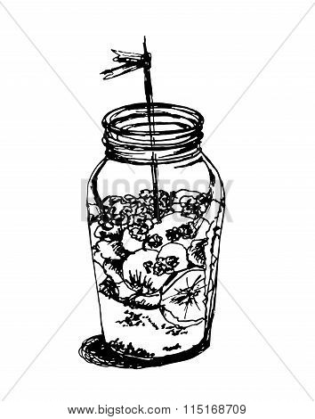 dessert jar with souffle and bananas sketch vector illustration