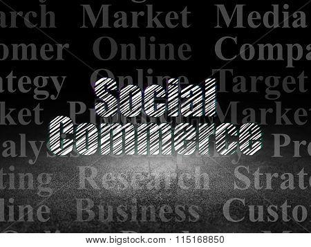 Advertising concept: Social Commerce in grunge dark room