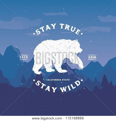Stay True Stay Wild. Motivational and Inspirational illustration on colourful background.