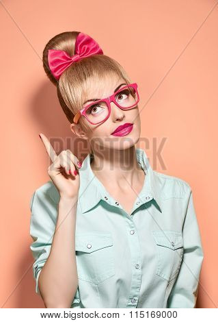 Beauty fashion woman, stylish glasses.Hipster girl