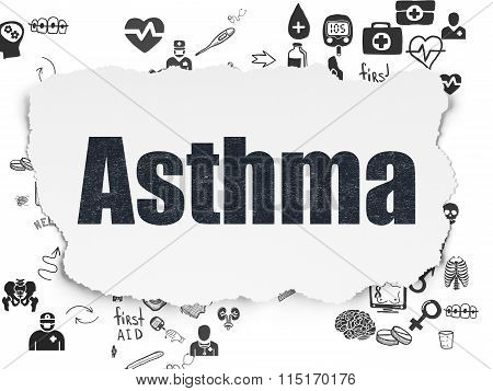 Health concept: Asthma on Torn Paper background
