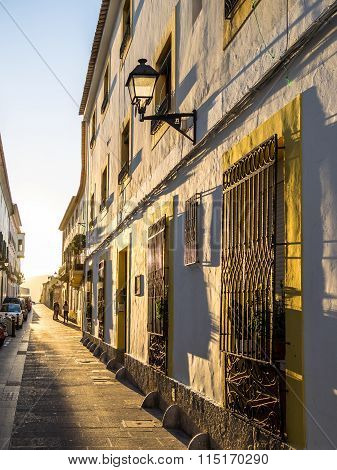 IBIZA SPAIN - MAY 23 2015. The rays of the sun in Ibiza old town