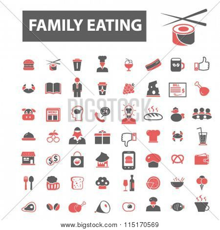 family eating, restaurant, restaurant menu, restaurant dinner icons, signs vector concept set for infographics, mobile, website, application