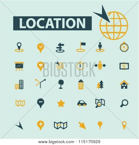 location concept, location icons, map icons, map direction, route  icons, signs vector concept set for infographics, mobile, website, application