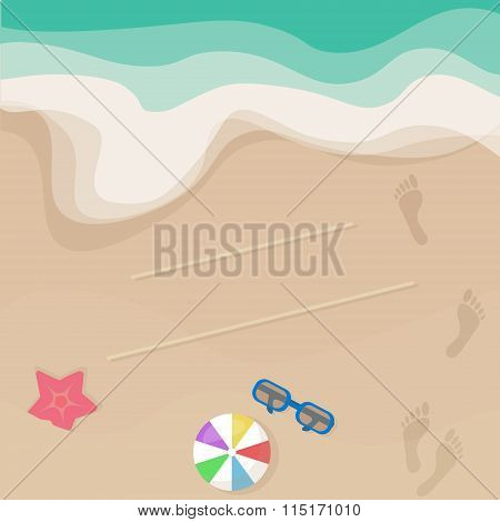 Vector seashore illustration top view.  ball starfish footprints. Summer design for invita