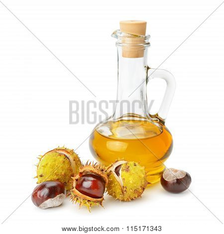 Fruit And Oils Chestnuts Isolated On A White Background
