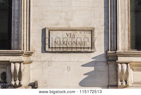 Via Nazionale Sign In Rome During The Day