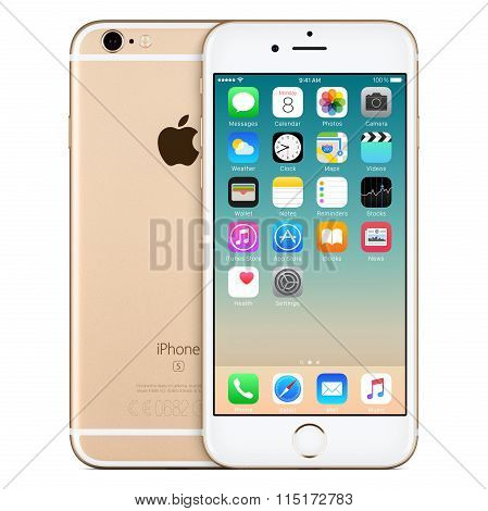 Gold Apple Iphone 6S Front View With Ios 9 On The Screen And Back Side Of The Iphone