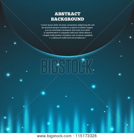 Abstract Space Background With Planet. Galaxy And Earth, Sunrise Astronomy, Vector Illustration Eps