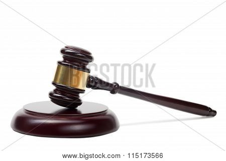 Law concept - Wooden judges gavel isolated on white background