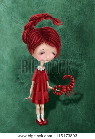 Illustration with a scorpio astrological sign girl
