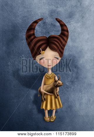 Illustration with a taurus astrological sign girl