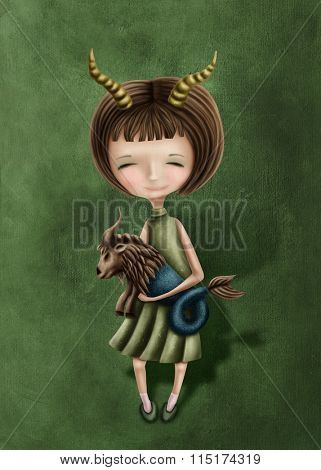Illustration with a capricorn astrological sign girl