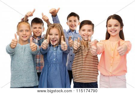 happy children showing thumbs up