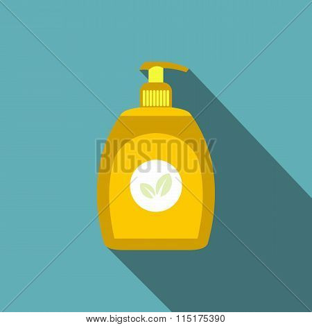 Yellow plastic bottle with liquid soap flat icon