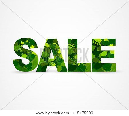 Inscription Sale leaves letters. Vector illustration.