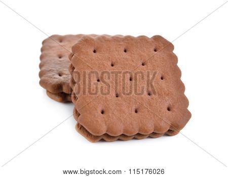 Puff Sandwich Chocolate Flavored Cream On White Background