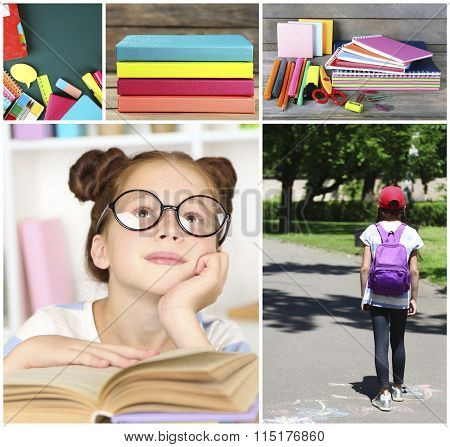 Collage of schoolgirls and education tools