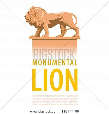 Big monumental profile lion with typography - catalog page