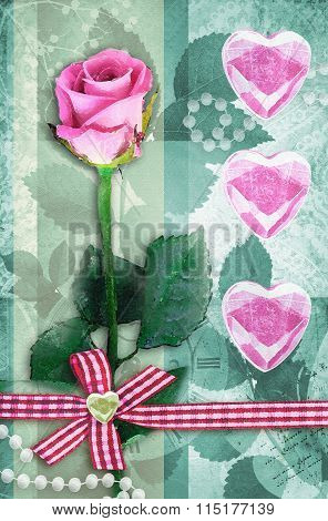 Beautiful Pink Rose With Pink Hearts.