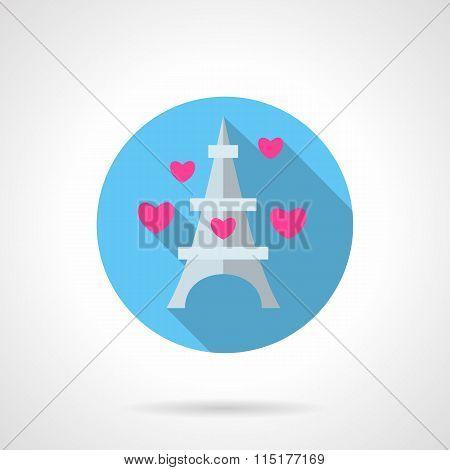 Paris symbol round flat vector icon