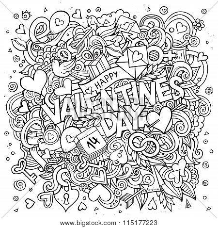 Cartoon vector hand drawn Doodle Happy Valentines Day