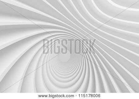 3d White Circular Construction. Modern Architecture Background