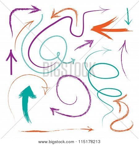 Set of vector hand drawn arrows. Vector illustration