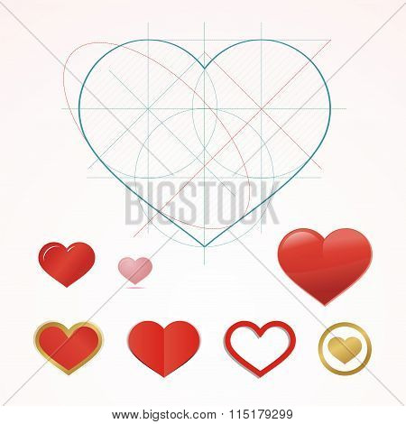 Heart Symbol With Dimension Lines. Element Of Blueprint Drawing In Shape Of Heart. Qualitative Vecto