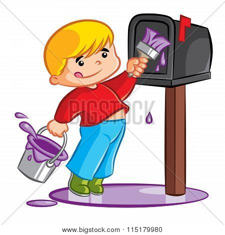 Young Boy Painting Mailbox