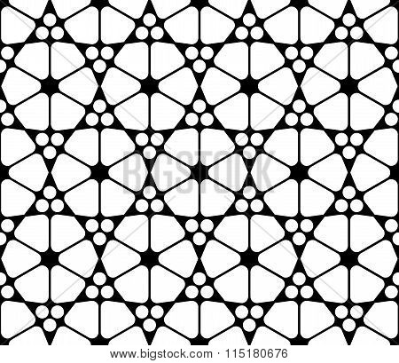 Vector modern seamless sacred geometry pattern islamic black and white abstract