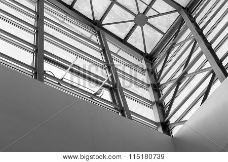 Architectural Roofing Abstract In Black And White