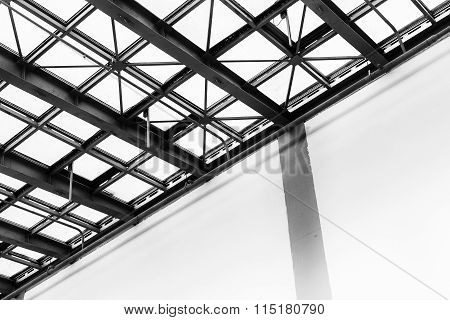Diagonal Roofing Structure In Black And White
