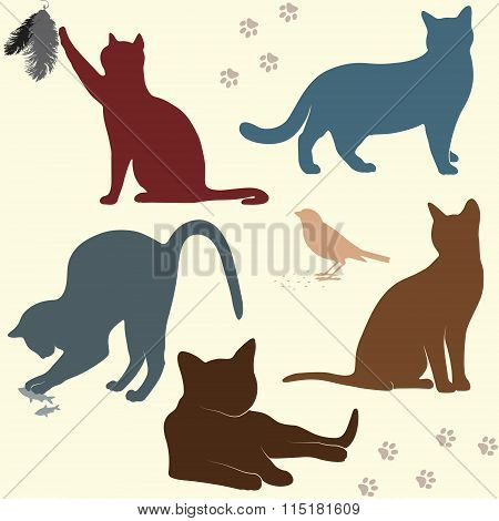 Vector Set Of Cats Silhouettes