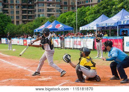 Zhongshan Panda Cup, Zhongshan, Guangdong - August 3:unknown Batter Hitting The Ball During A Match